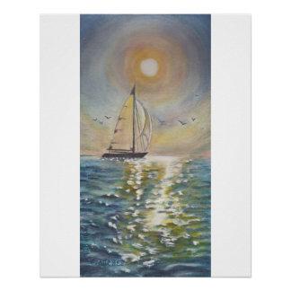 Sailboat Sea Sun Reflection Glossy Poster 20x25