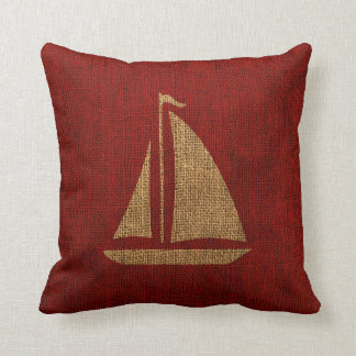 Sailboat Silhouette in Rustic Red Throw Pillow