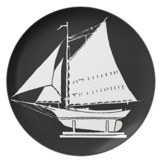 sailboat silhouette plate