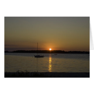 Sailboat Speed Boat Sunset Card