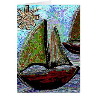 SAILBOAT, SUN & SEA - sailing greeting card