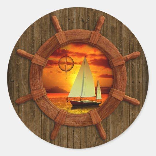Sailboat Sunset Classic Round Sticker