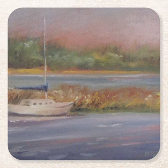 Sailboat Sunset Peaceful Marsh Serene Square Paper Coaster