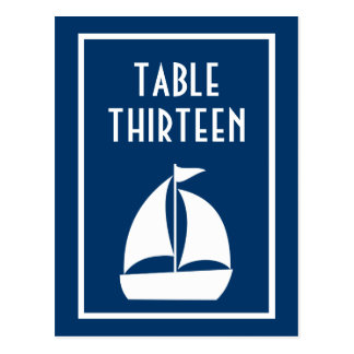 Sailboat Table Numbers Dark Blue White Post Card
