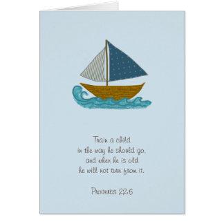 Sailboat Train a Child Scripture Thank You Teacher Card