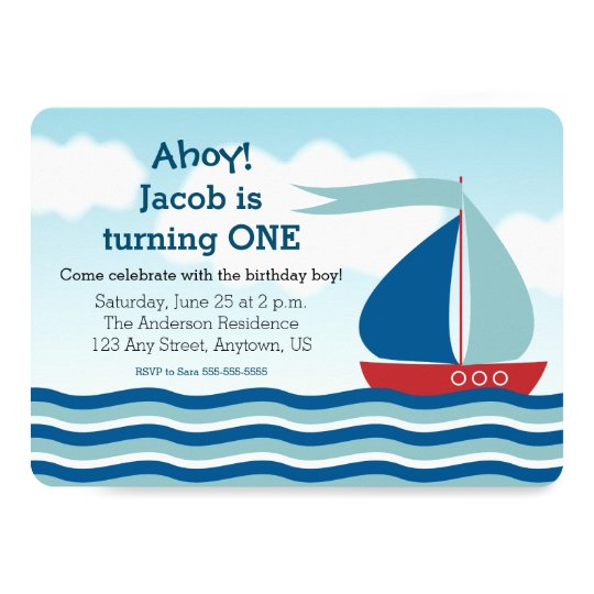 Sailboat & Water, Nautical Boy Birthday Invitation