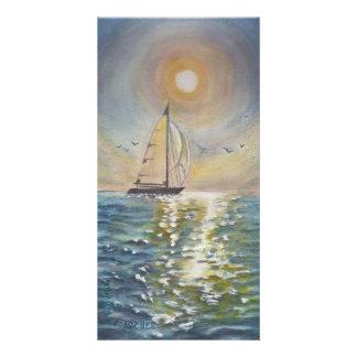"""Sailboat watercolor 8"""" x 4"""" Photocard Card"""