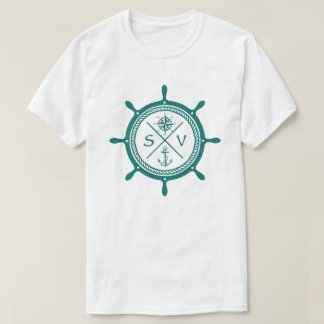 Sailboat wheel SV Sailing Vessel Logo with compass T-Shirt