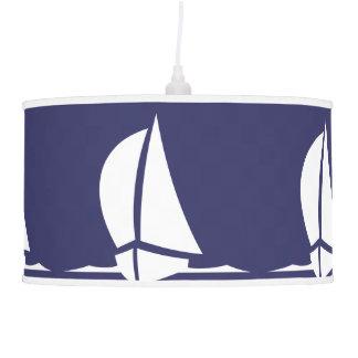 Sailboat  White on blue Pendant Lamp