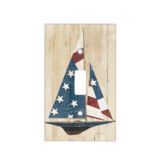 Sailboat With American Flag Light Switch Cover
