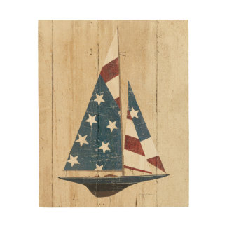 Sailboat With American Flag Wood Print
