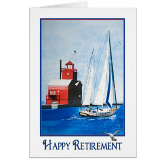 Sailboat with lighthouse retirement card