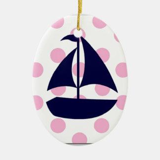 sailboat with polkadots ceramic ornament