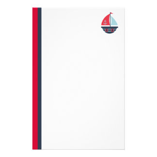 Sailboat with Red and Navy Vertical Stripes Stationery