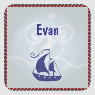 Sailboat with Rope Frame Square Sticker