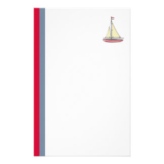 Sailboat with Vertical Red and Blue Stripes Stationery