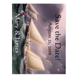 Sailboat Yacht Race Boats Save the Date Postcard