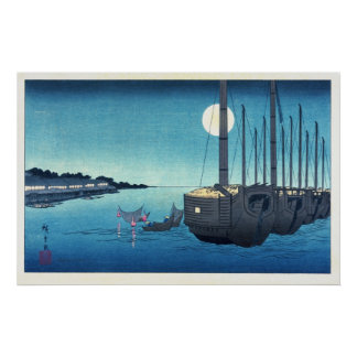 Sailboats and a Full Moon Poster