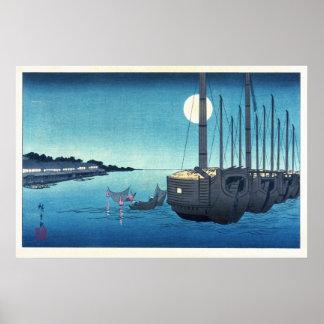 Sailboats and a Full Moon Poster