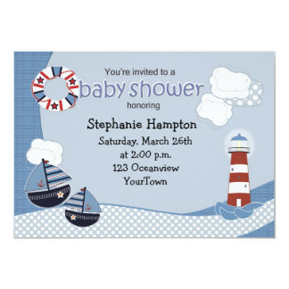 Sailboats and Lighthouse Baby Shower Invitation