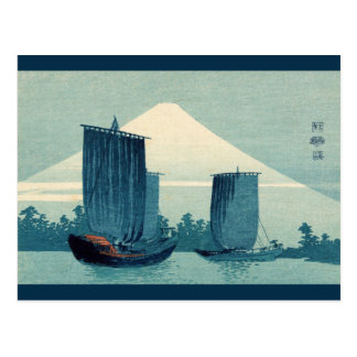 Sailboats and Mount Fuji 2012 Calendar Postcard