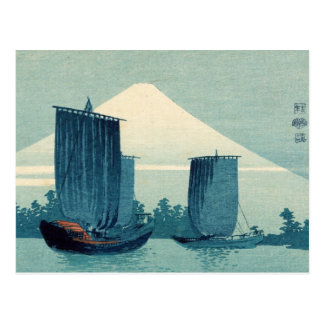 Sailboats and Mount Fuji Postcard