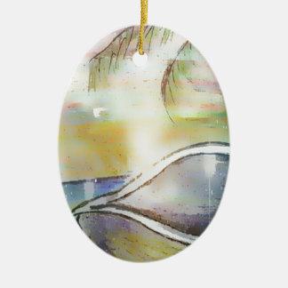 Sailboats and Seashells Ceramic Ornament