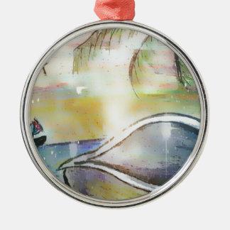 Sailboats and Seashells Metal Ornament