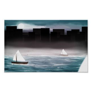 Sailboats and the City (darker) Poster