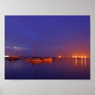 sailboats at dusk Canvas Print
