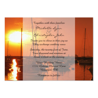 Sailboats at Sunset Beach Wedding Invitation