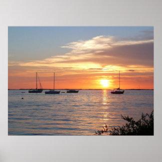 Sailboats at Sunset  - Poster