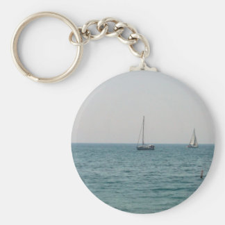 Sailboats Basic Round Button Keychain