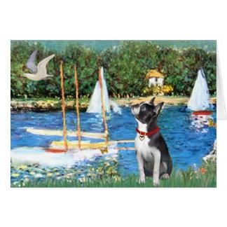 Sailboats - Boston Terrier #@ Card