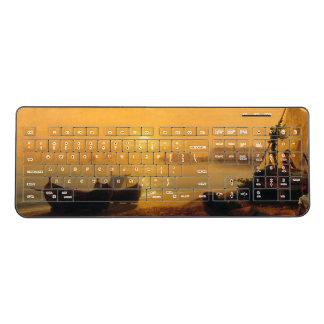 Sailboats Fishing Boats Beach Wireless Keyboard