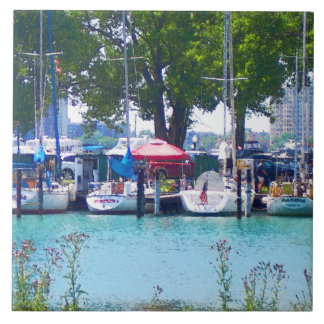 Sailboats In Dock Tile