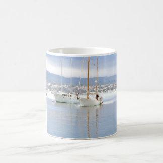 Sailboats in Harbor Art Mug