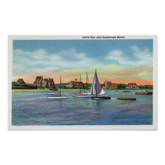 Sailboats in Lewis Bay, Englewood Beach View Poster