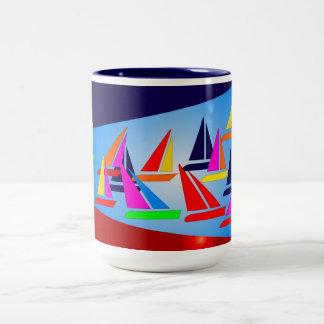 Sailboats in Room Two-Tone Coffee Mug