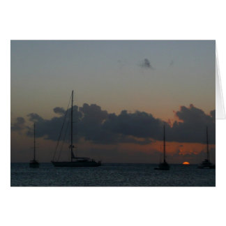 Sailboats in Sunset Tropical Seascape Card