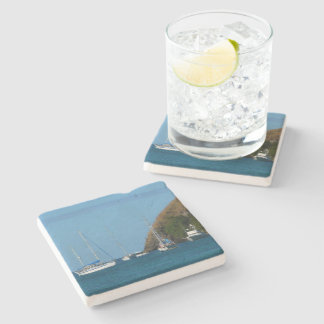 Sailboats in the Bay White and Blue Nautical Stone Beverage Coaster