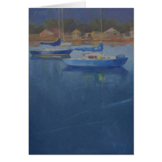 Sailboats in the blue harbor card