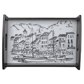 Sailboats in the Harbor | Cassis, France Serving Tray