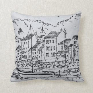 Sailboats in the Harbor | Cassis, France Throw Pillow