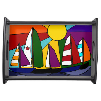 Sailboats in the Sun Serving Tray