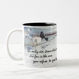 Sailboats Jesus Forgives Mug