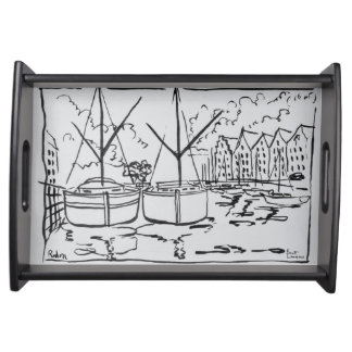Sailboats | La Vilaine River, Redon, Brittany Serving Tray