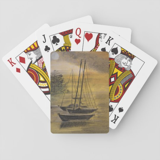 Sailboats Moored on Playing Cards