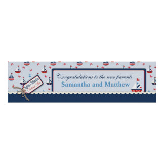 Sailboats Nautical Baptism Banner Made to Order Poster