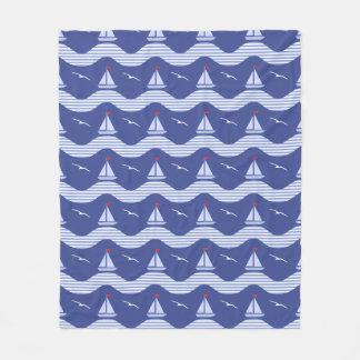 Sailboats On A Striped Sea Pattern Fleece Blanket